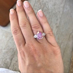 Jewelry - Pink Diamond CZ Silver Ring Size 7